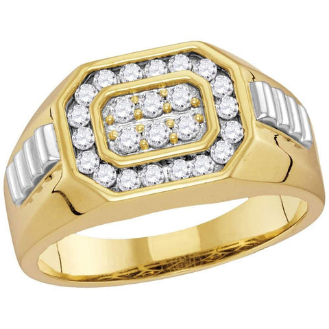 10kt Two-tone Gold Mens Round Diamond Octagon Ribbed Cluster Ring 1/2 Cttw