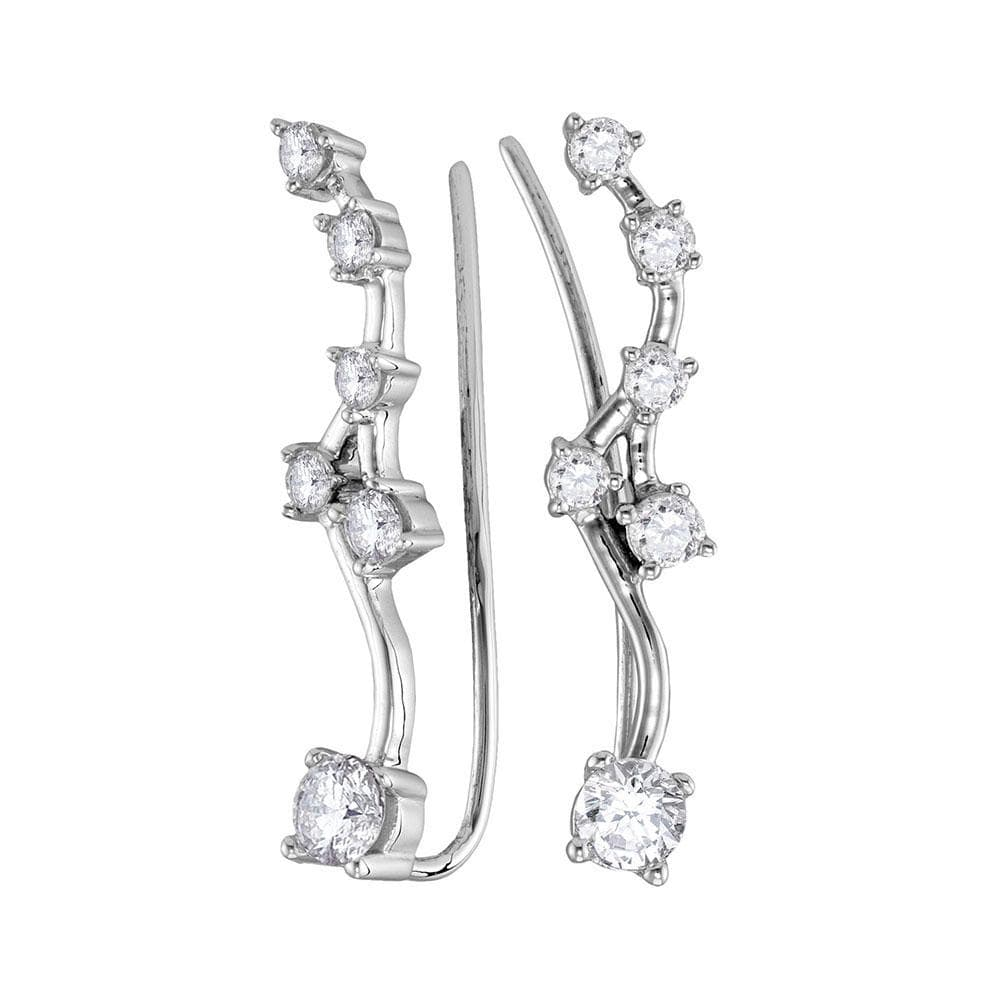 10kt White Gold Womens Round Diamond Climber Earrings 5/8 Cttw