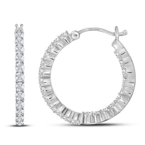 14kt White Gold Womens Round Diamond Single Row Hoop Earrings 2.00 Cttw