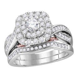 14k White Gold Womens Round Diamond Bellissimo Bridal Wedding Ring Band Set 1.00 Cttw (Certified)