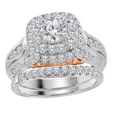 14kt White Gold Womens Round Diamond Bellissimo Bridal Wedding Engagement Ring Band Set 5/8 Cttw