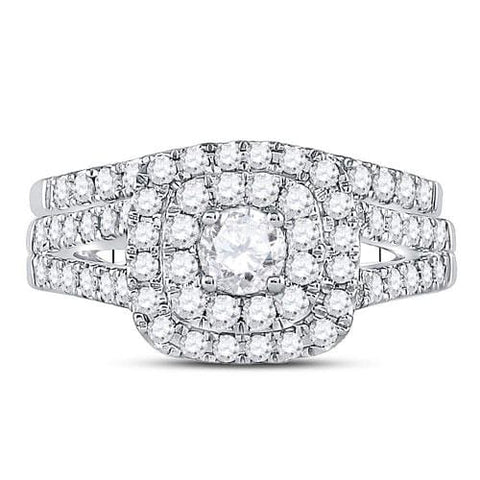 14kt White Gold Womens Round Diamond Bellissimo Double Square Halo Bridal Wedding Engagement Ring Band Set 1-1/4 Cttw
