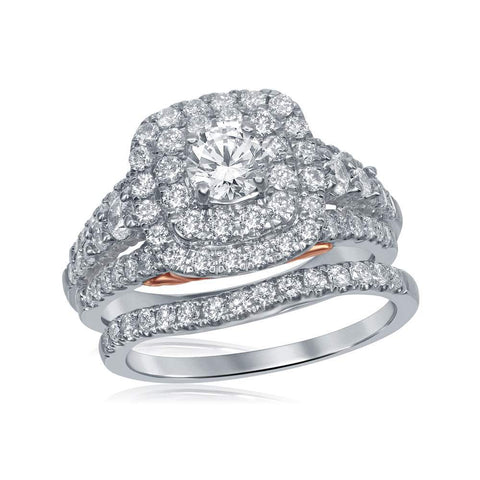 14kt White Gold Womens Round Diamond Bellissimo Double Halo Bridal Wedding Engagement Ring Band Set 2.00 Cttw