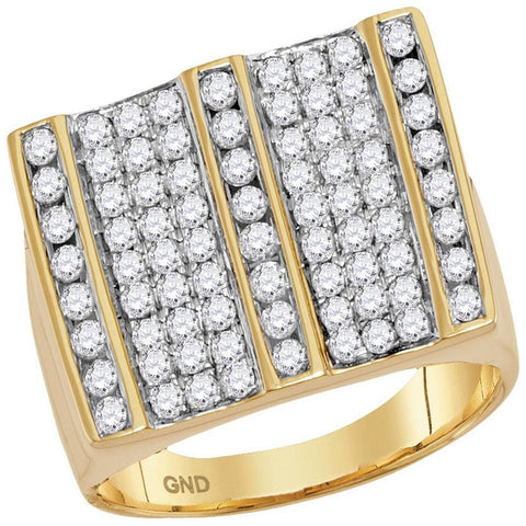 14kt Yellow Gold Mens Round Diamond Square Striped Cluster Ring 1-3/4 Cttw