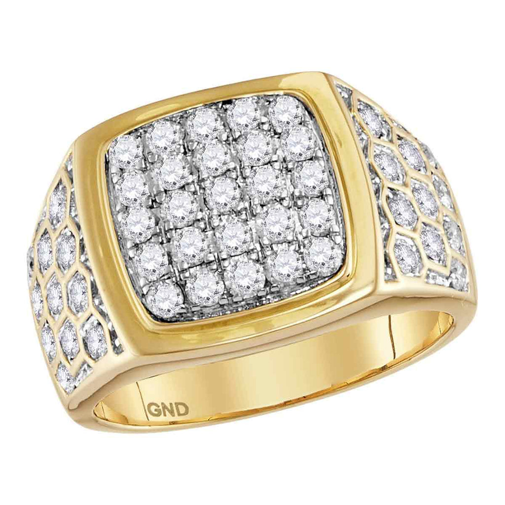 14kt Yellow Gold Mens Round Diamond Square Cluster Honeycomb Ring 1-3/4 Cttw