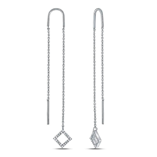 10kt White Gold Womens Round Diamond Threader Square Dangle Earrings 1/10 Cttw
