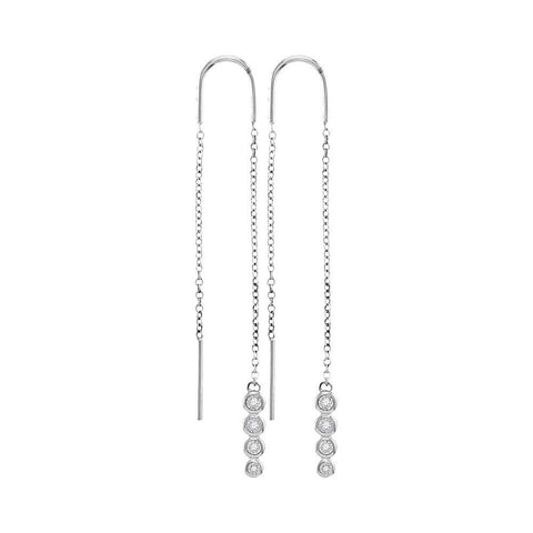 10kt White Gold Womens Round Bezel-set Diamond Dangle Threader Earrings 1/12 Cttw
