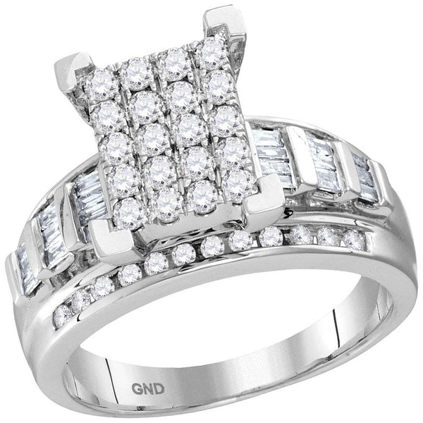 10kt White Gold Womens Round Diamond Cindys Dream Cluster Bridal Wedding Engagement Ring 7/8 Cttw
