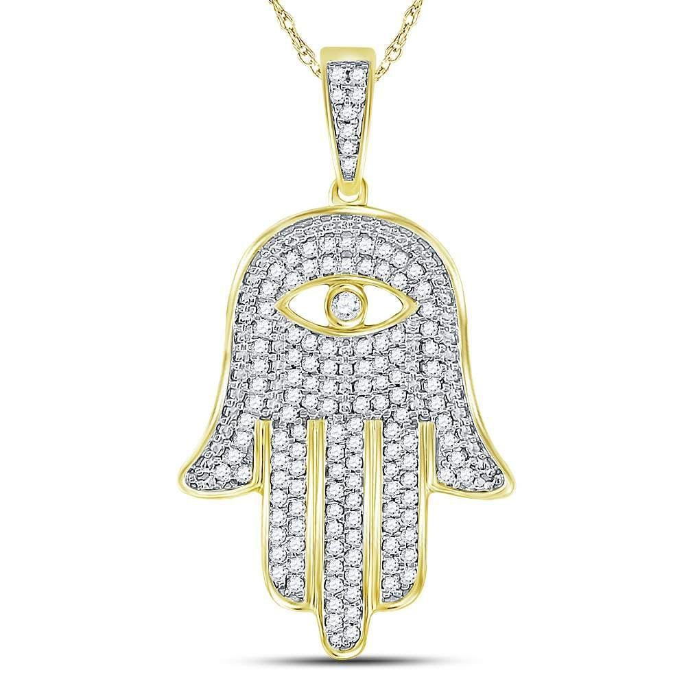10kt Yellow Gold Mens Round Diamond Eye of Fatima Hamsa Hand Charm Pendant 1/2 Cttw