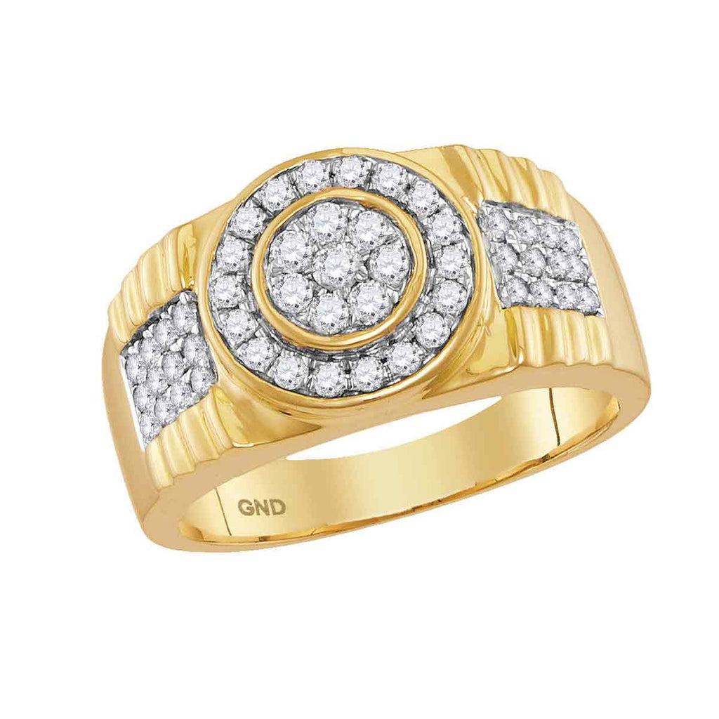 10kt Yellow Gold Mens Round Diamond Concentricle Circle Flower Cluster Ring 7/8 Cttw