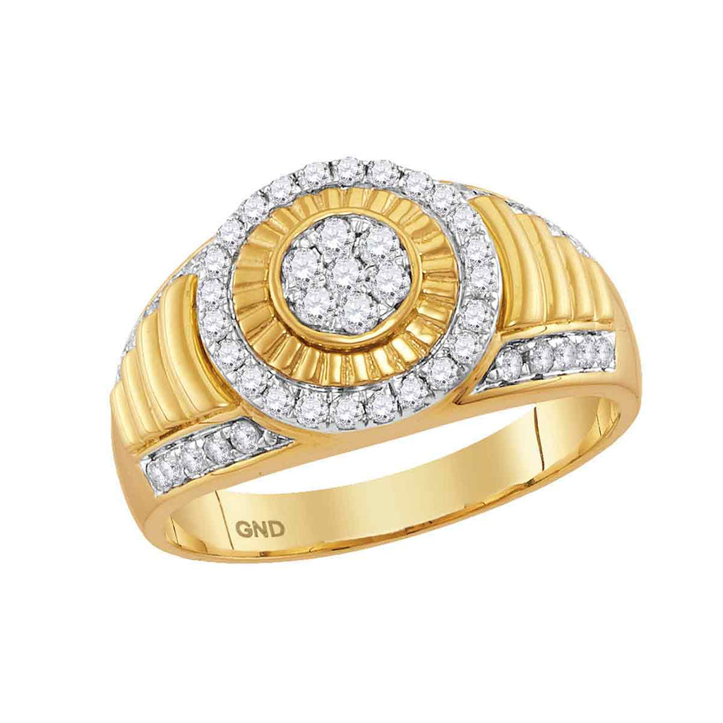 10kt Yellow Gold Mens Round Diamond Cluster Concentric Circle Ribbed Ring 3/4 Cttw