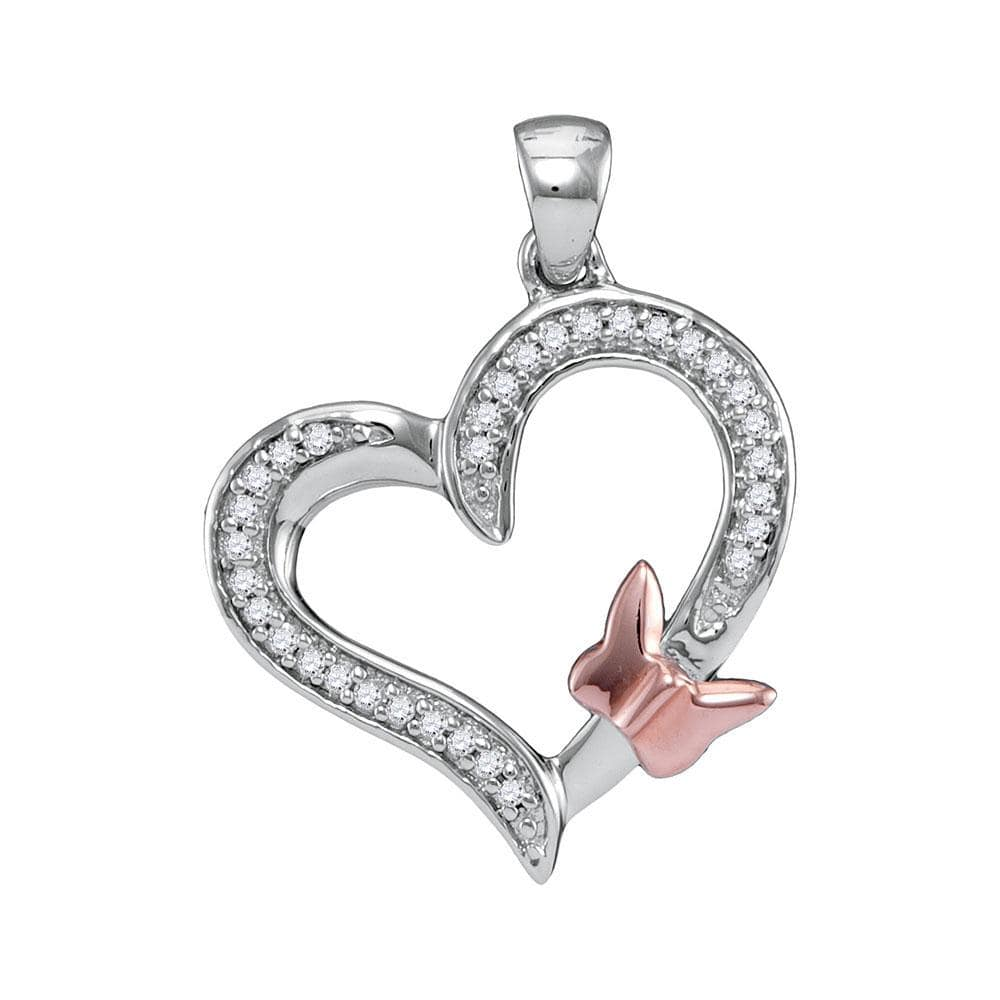 10kt White Gold Womens Round Diamond Heart Love Rose-tone Butterfly Bug Pendant 1/10 Cttw