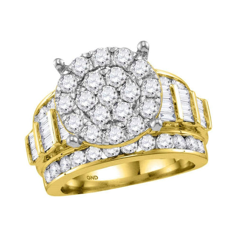 10kt Yellow Gold Womens Round Diamond Cluster Bridal Wedding Engagement Ring 3.00 Cttw
