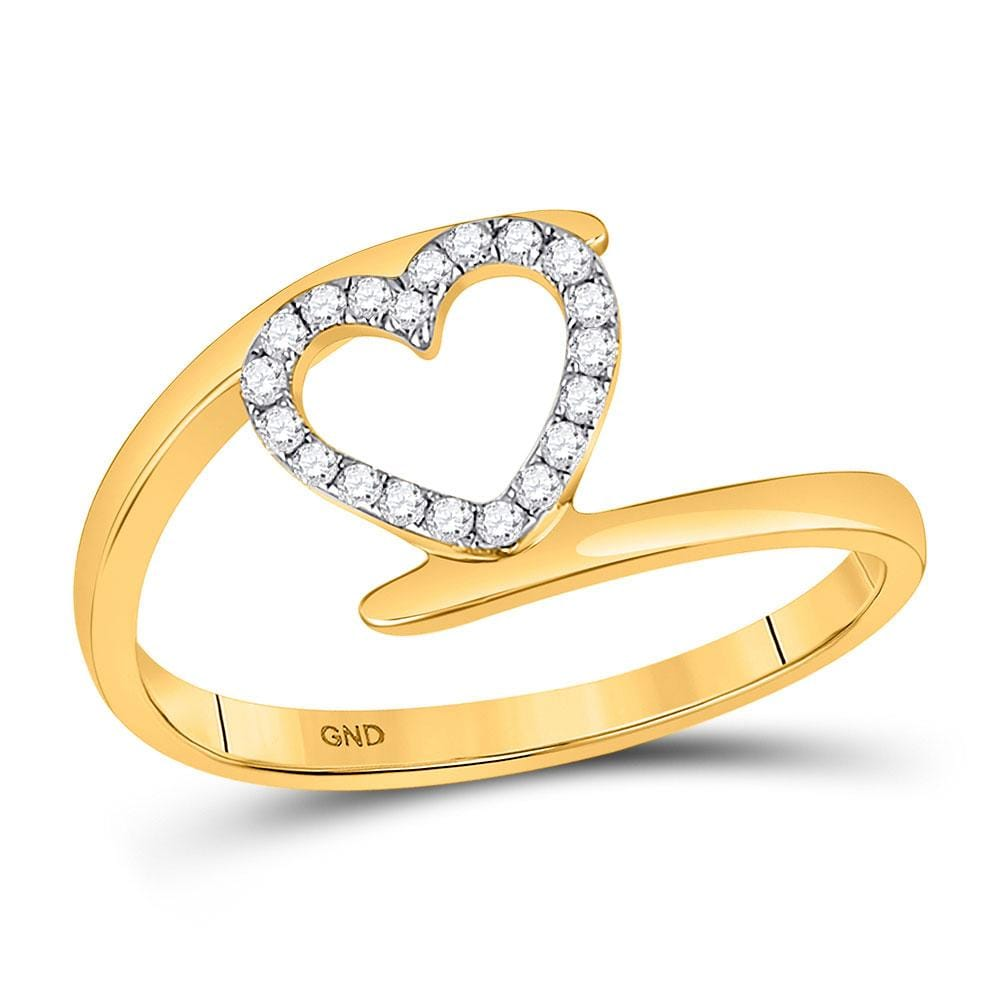 10kt Yellow Gold Womens Round Diamond Heart Ring 1/8 Cttw