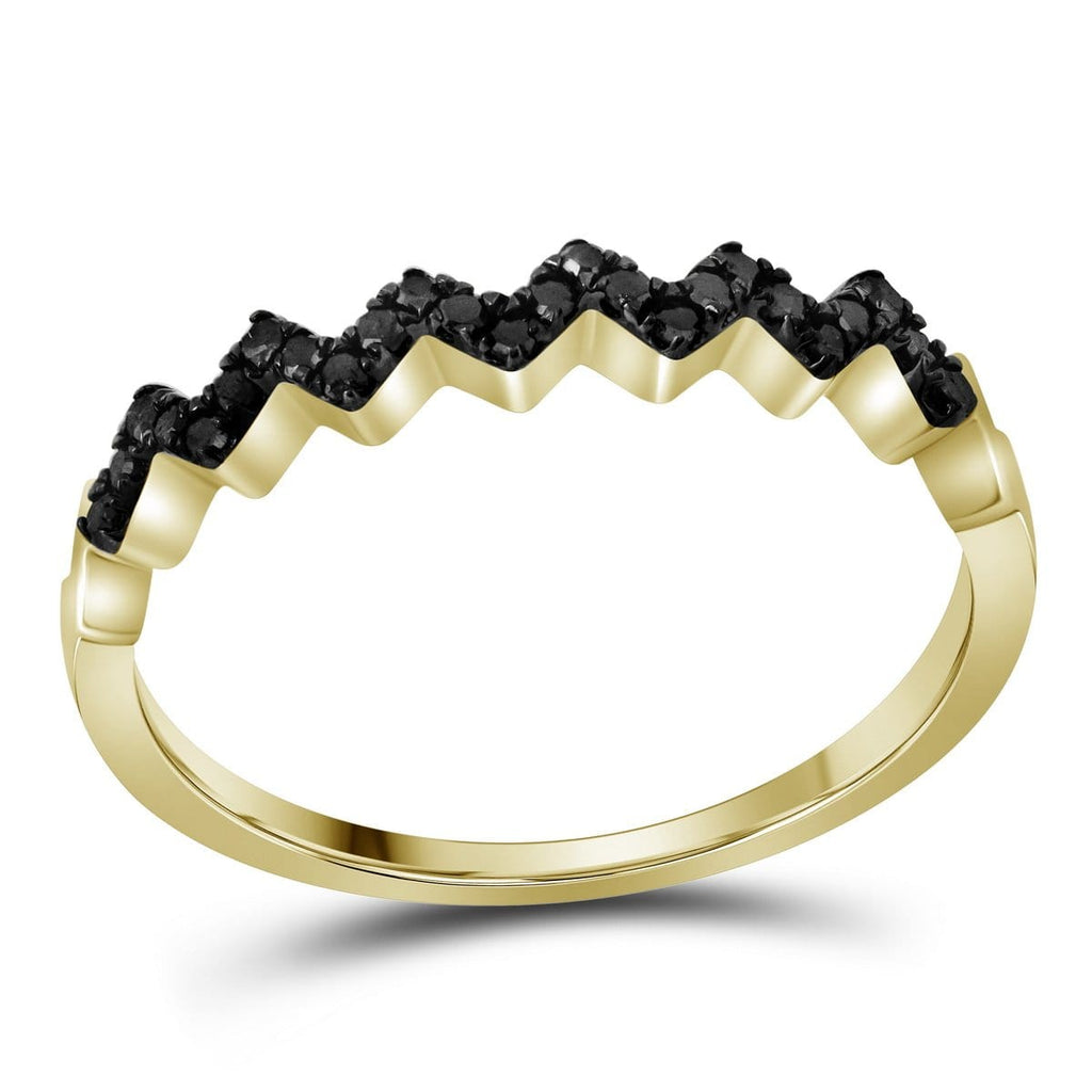 10kt Yellow Gold Womens Radiant Black Color Enhanced Diamond Band Ring 1/6 Cttw