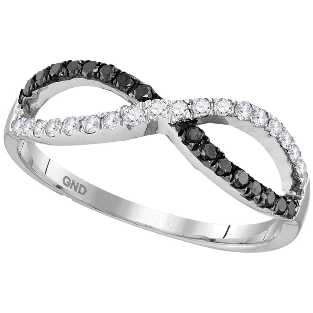 10kt White Gold Womens Round Black Color Enhanced Diamond Infinity Ring 1/3 Cttw