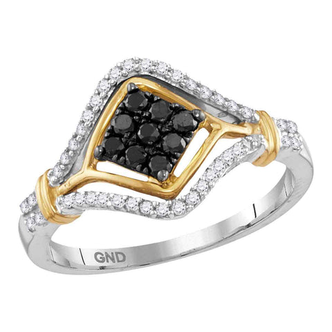 10kt Two-tone Gold Womens Round Black Color Enhanced Diamond Cluster Ring 3/8 Cttw