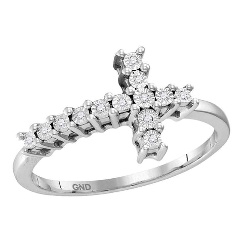 Sterling Silver Womens Round Diamond Christian Cross Cluster Ring 1/20 Cttw