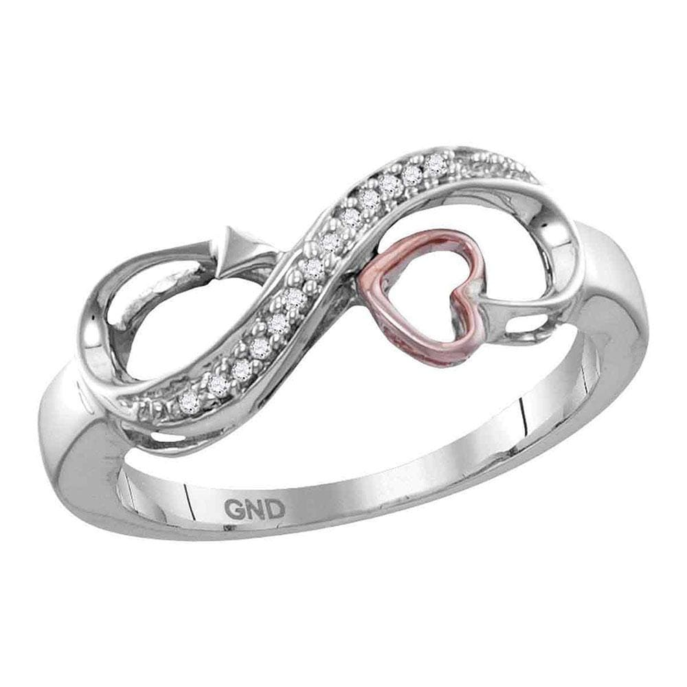Sterling Silver Womens Round Diamond Heart Infinity Ring 1/20 Cttw