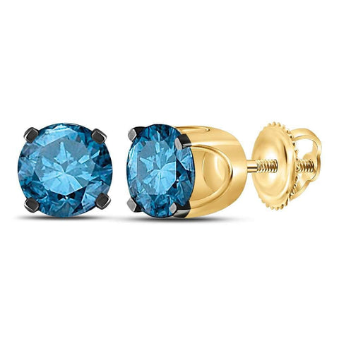 14kt Yellow Gold Womens Round Blue Color Enhanced Diamond Solitaire Earrings 1.00 Cttw