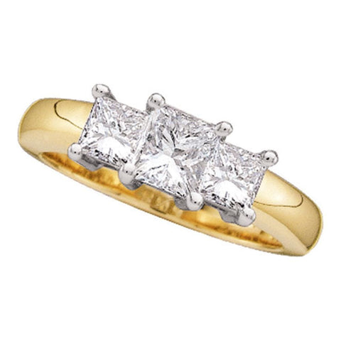 14kt Yellow Gold Womens Princess Diamond 3-stone Bridal Wedding Engagement Ring 1-1/2 Cttw