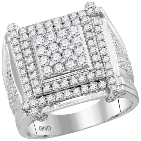 10kt White Gold Mens Round Diamond Square Cluster Ring 2-3/4 Cttw