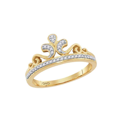 10kt Yellow Gold Womens Round Diamond Crown Tiara Band Ring 1/10 Cttw