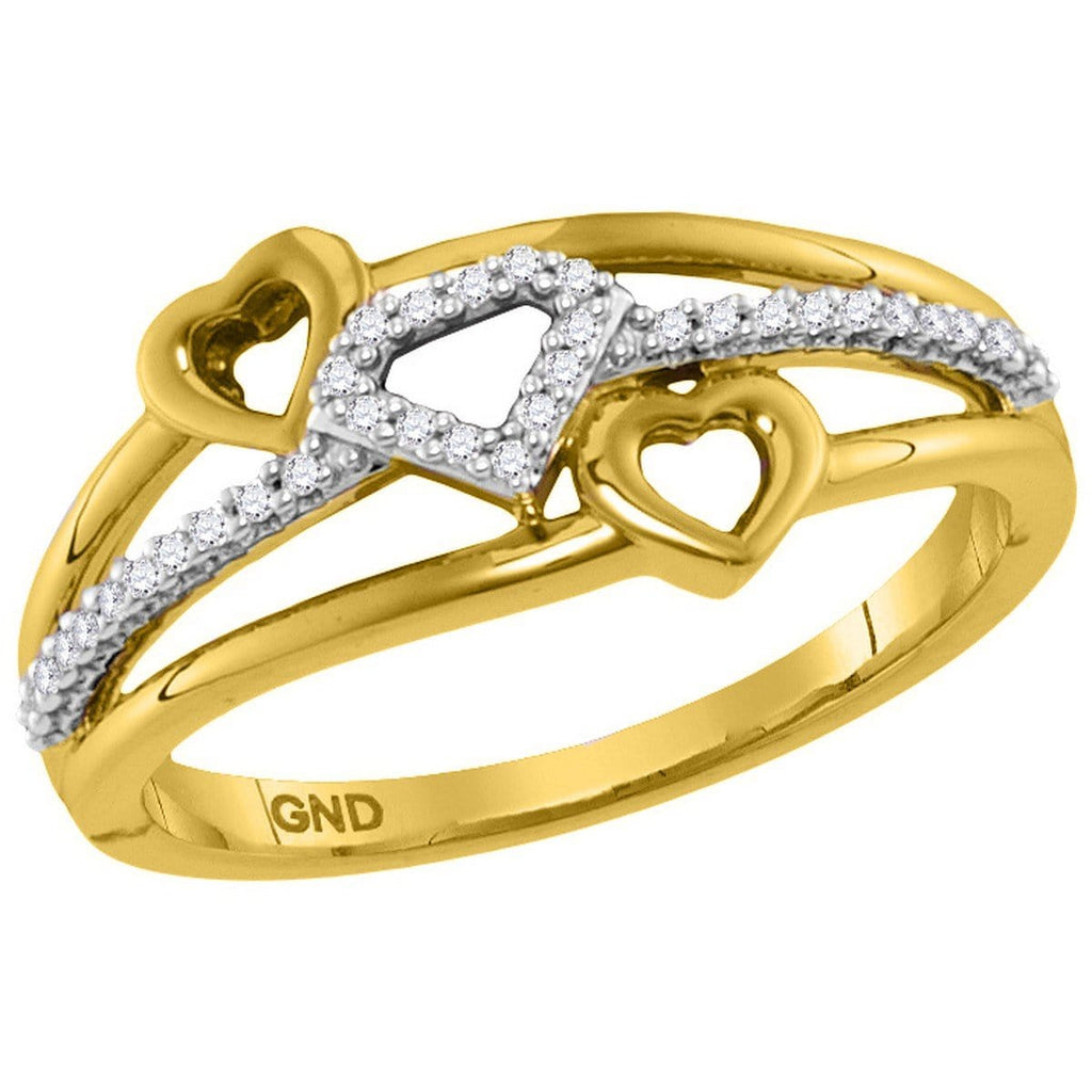 10kt Yellow Gold Womens Round Diamond Double Heart Striped Band Ring 1/10 Cttw