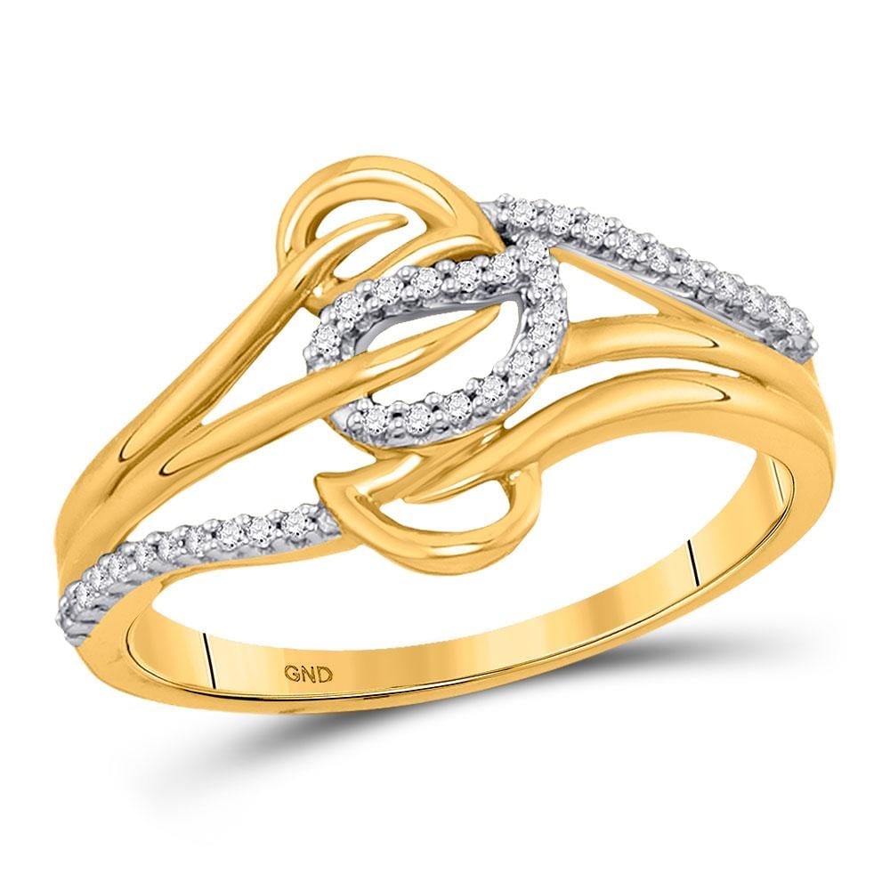 10kt Yellow Gold Womens Round Diamond Triple Row Leaf Band Ring 1/10 Cttw