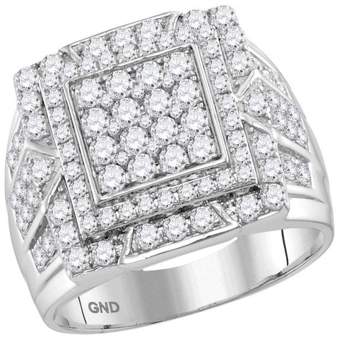 10kt White Gold Mens Round Diamond Square Frame Cluster Ring 2-1/4 Cttw