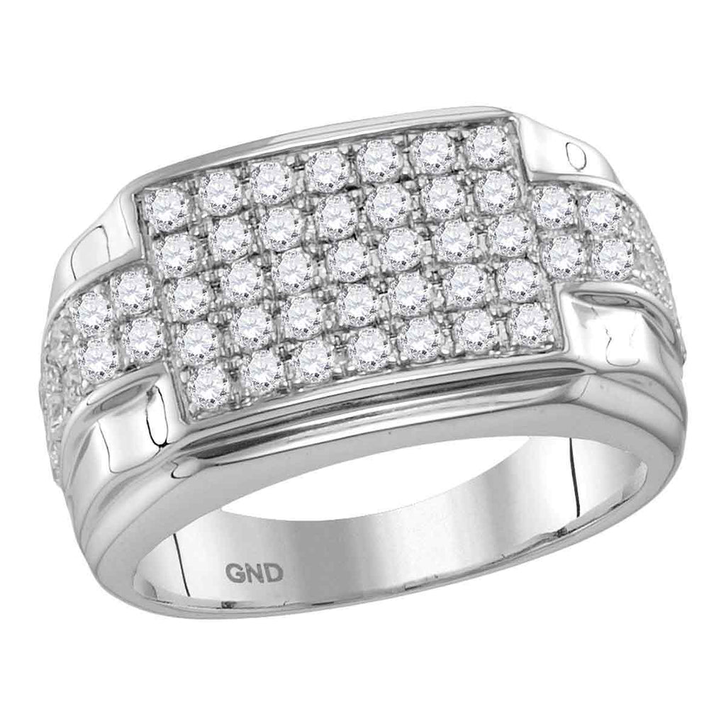 10kt White Gold Mens Round Diamond Rectangle Cluster Ring 1-7/8 Cttw