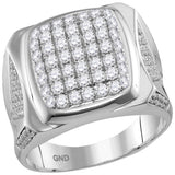 10kt White Gold Mens Round Diamond Square Cluster Ring 2.00 Cttw