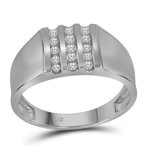10kt White Gold Mens Round Channel-set Diamond Triple Row Wedding Band Ring 1/4 Cttw