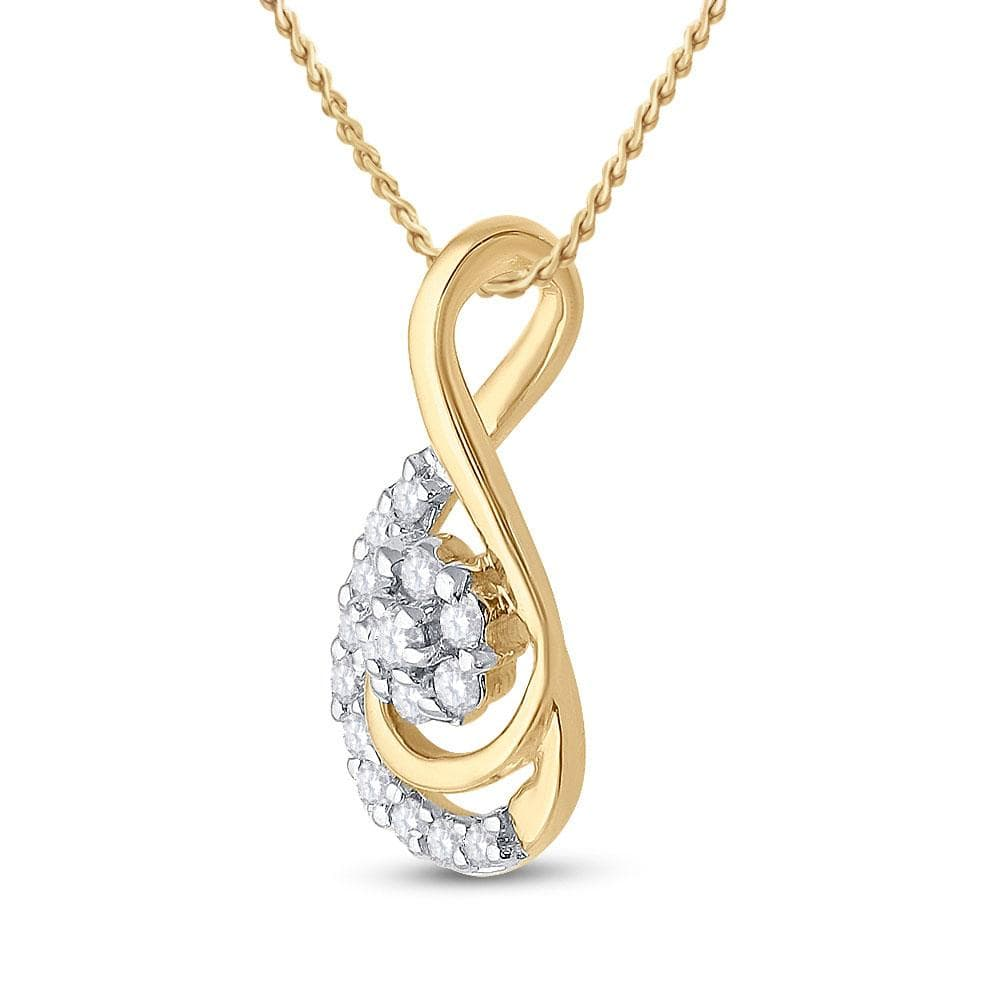 10kt Yellow Gold Womens Round Diamond Flower Cluster Teardrop Pendant 1/10 Cttw
