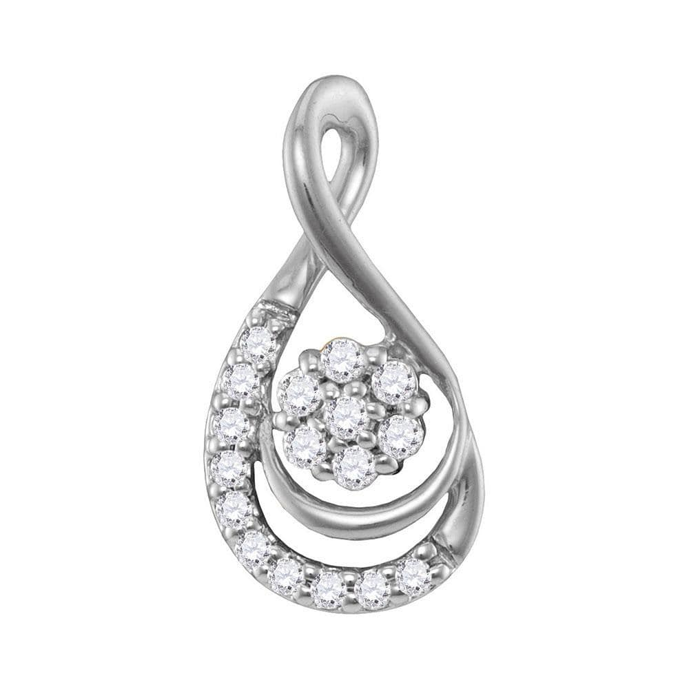 10kt White Gold Womens Round Diamond Flower Cluster Teardrop Pendant 1/10 Cttw