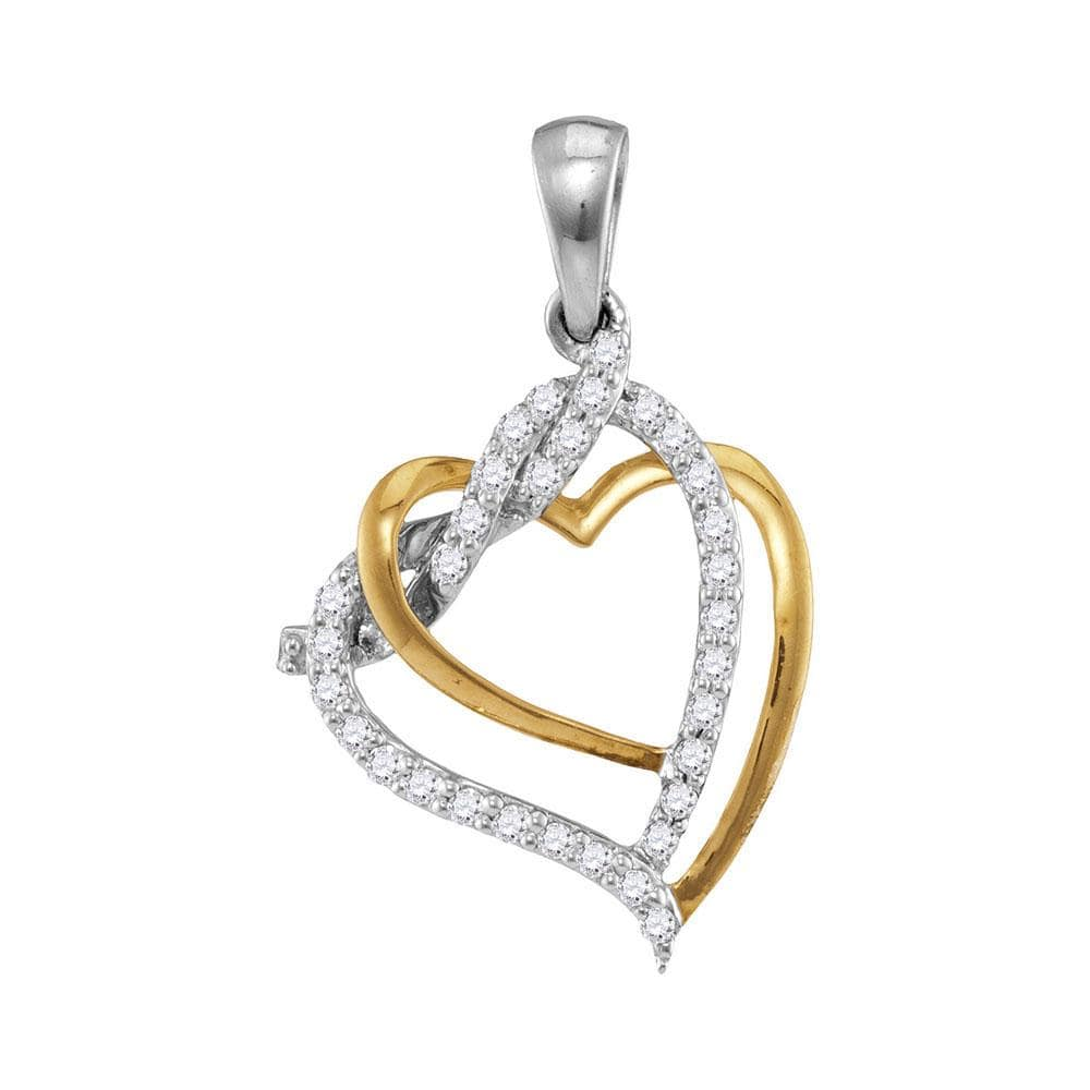 10kt Two-tone White Gold Womens Round Diamond Heart Love Pendant 1/6 Cttw