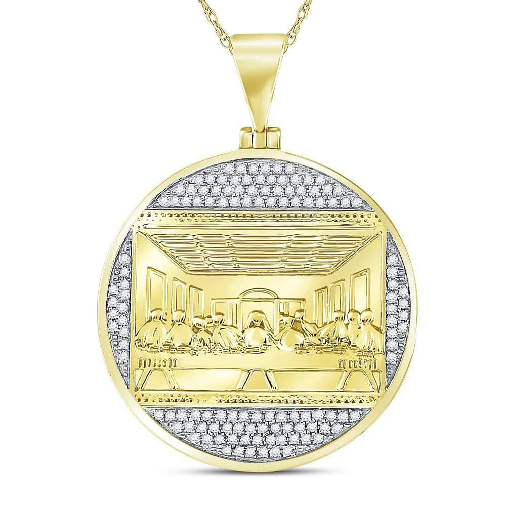 10kt Yellow Gold Mens Round Diamond Last Supper Religious Charm Pendant 1/2 Cttw