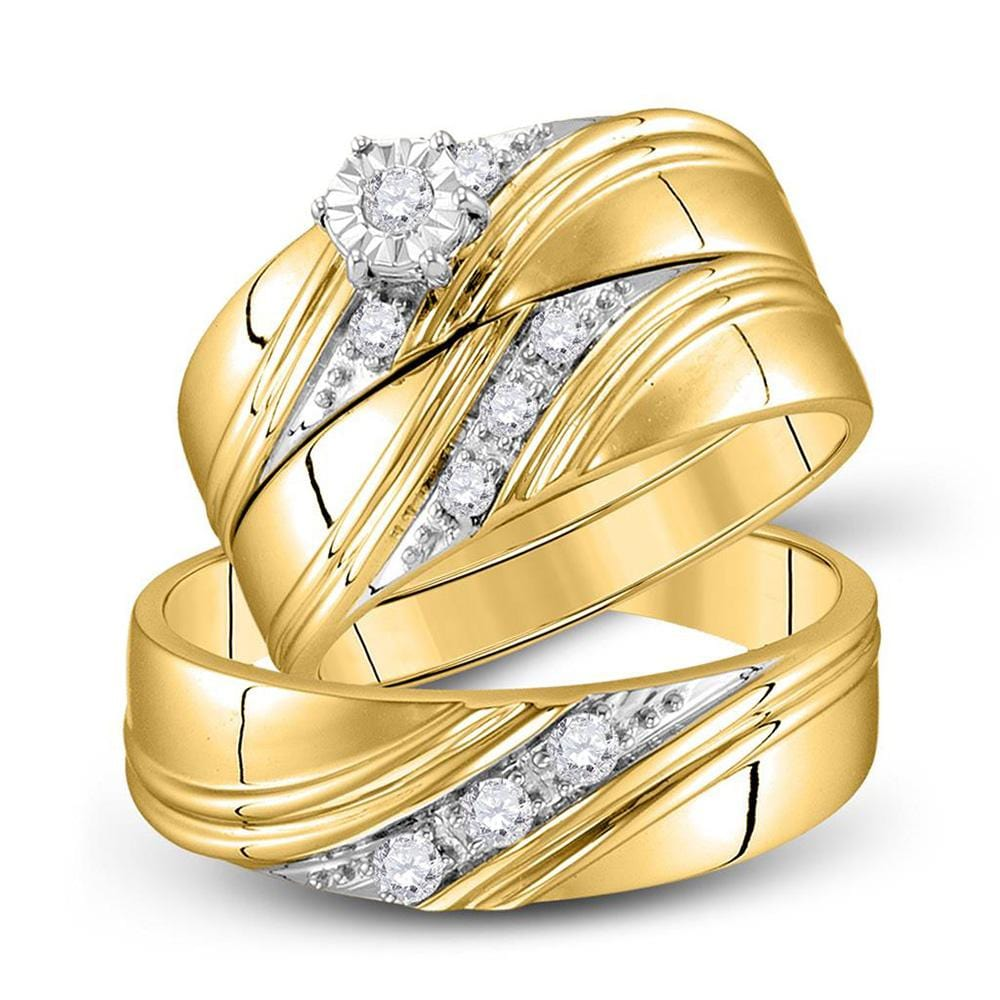 10kt Yellow Gold His Hers Round Diamond Solitaire Matching Bridal Wedding Ring Band Set 1/4 Cttw