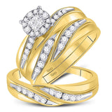 14kt Yellow Gold His & Hers Princess Diamond Soleil Cluster Matching Bridal Wedding Ring Band Set 5/8 Cttw