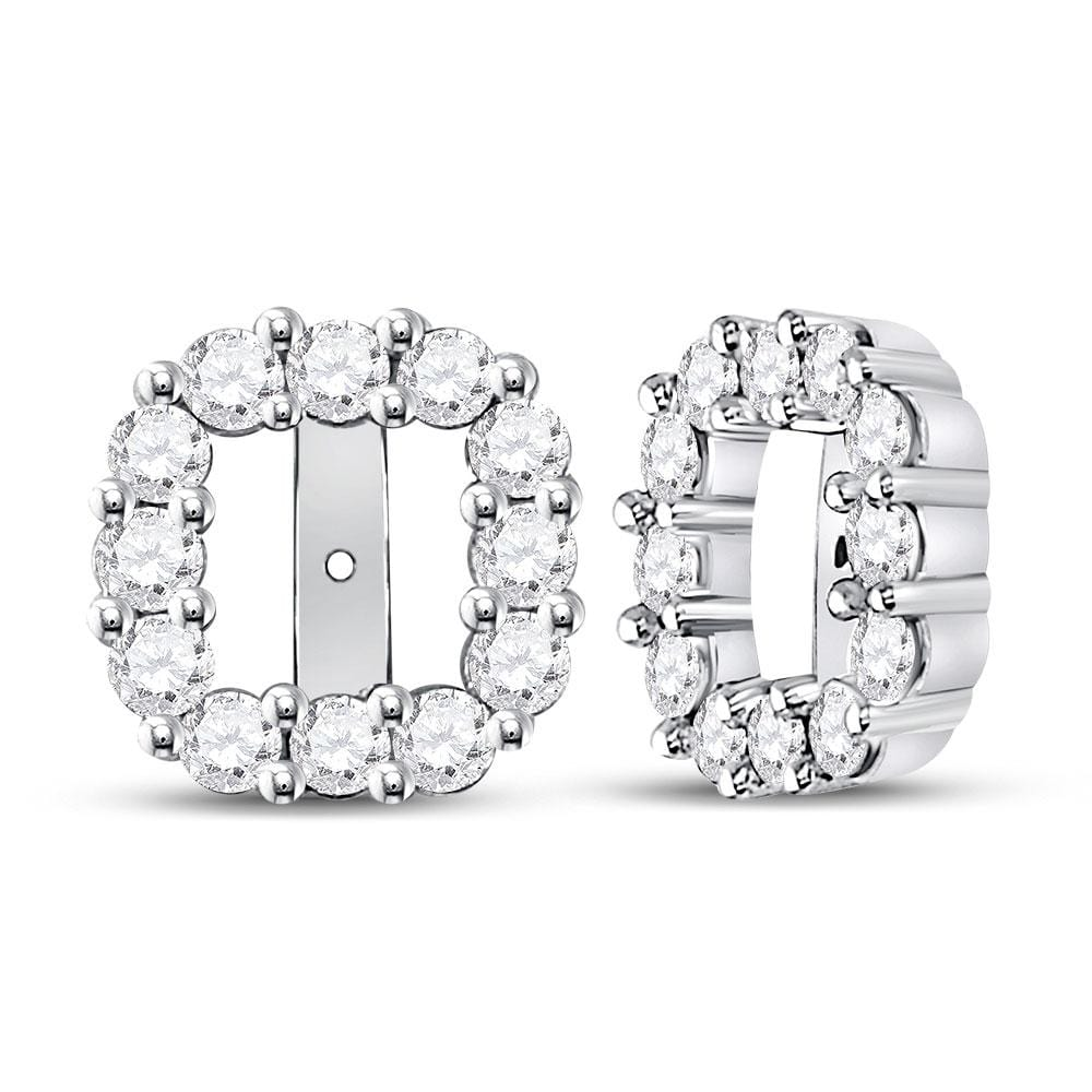 14kt White Gold Womens Round Diamond Square Frame Jacket Earrings Enhancer 3/4 Cttw