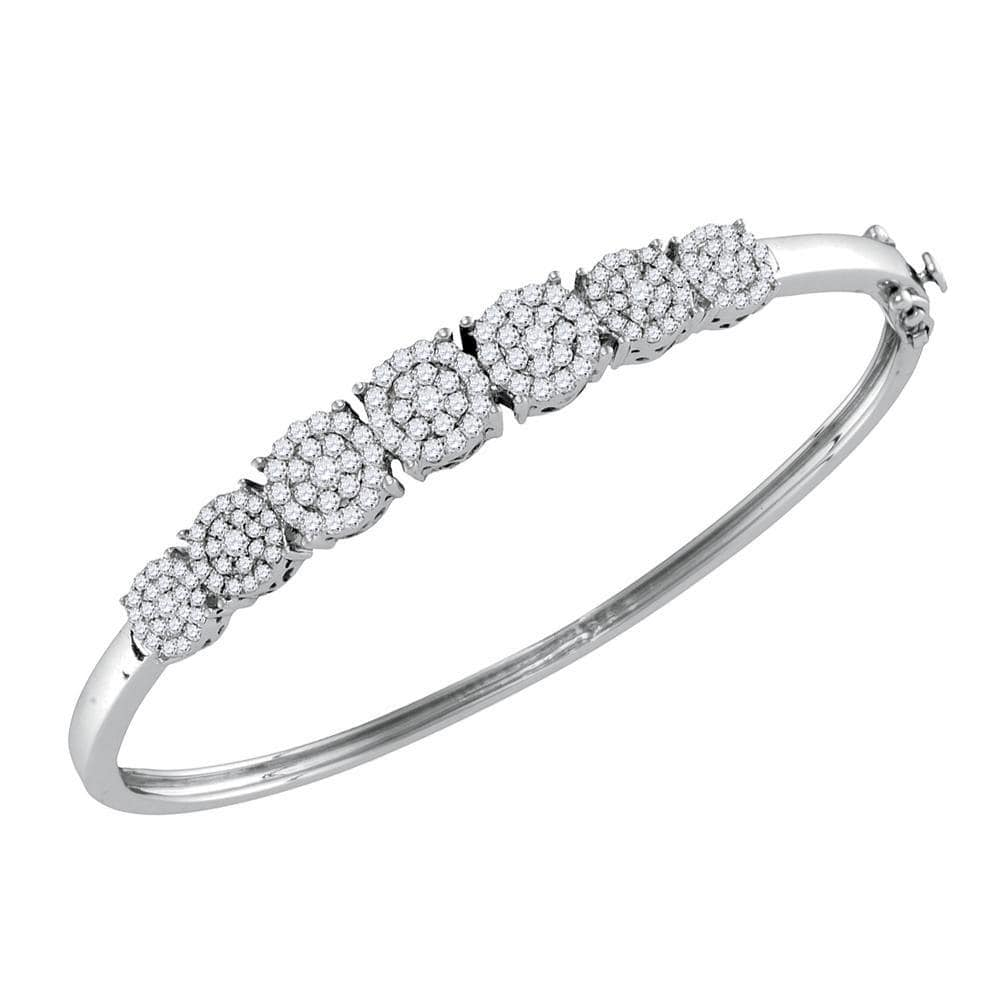 10kt White Gold Womens Round Diamond Concentric Cluster Bangle Bracelet 1-1/4 Cttw