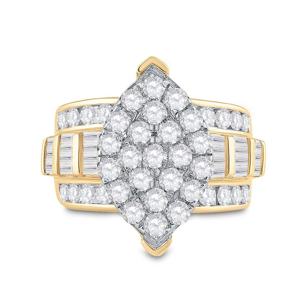 10kt Yellow Gold Womens Round Diamond Oval Cluster Bridal Wedding Engagement Ring 3.00 Cttw