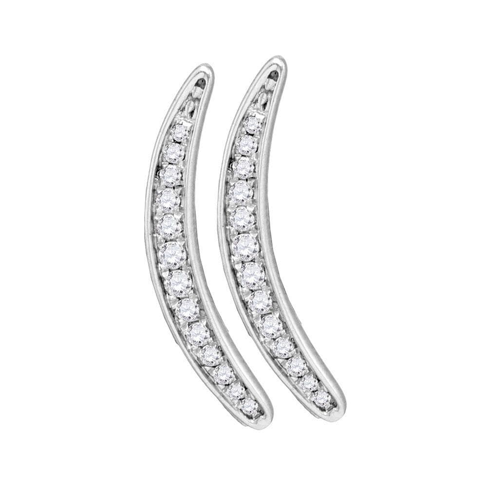 Sterling Silver Womens Round Pave-set Diamond Climber Earrings 1/5 Cttw