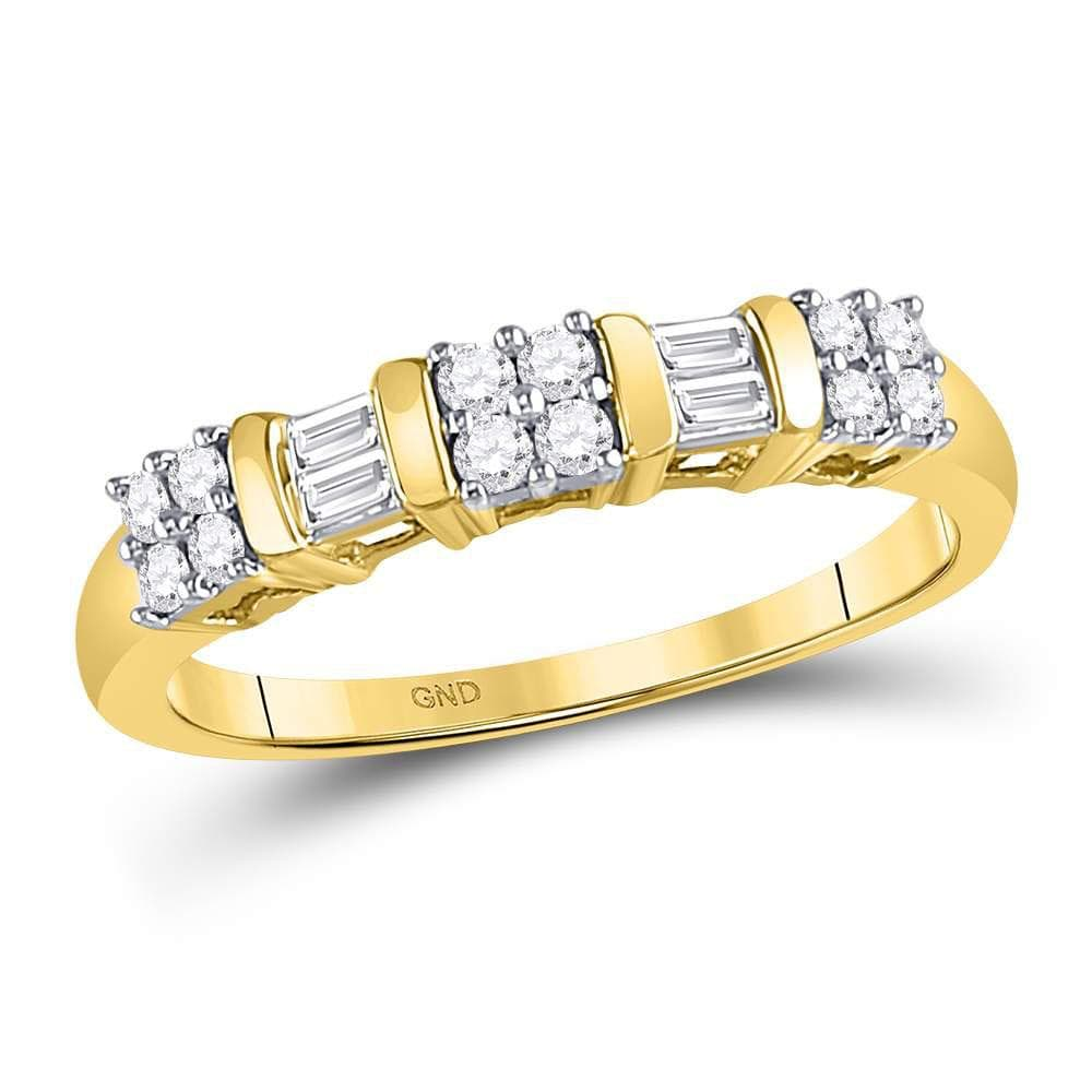 14kt Yellow Gold Womens Round Baguette Diamond Band Ring 1/4 Cttw