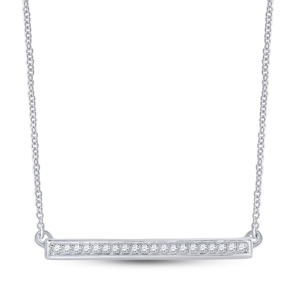 10kt White Gold Womens Round Diamond Bar Pendant Chain Necklace 1/10 Cttw