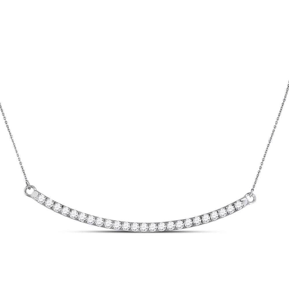 14kt White Gold Womens Round Diamond Curved Single Row Bar Necklace 1.00 Cttw