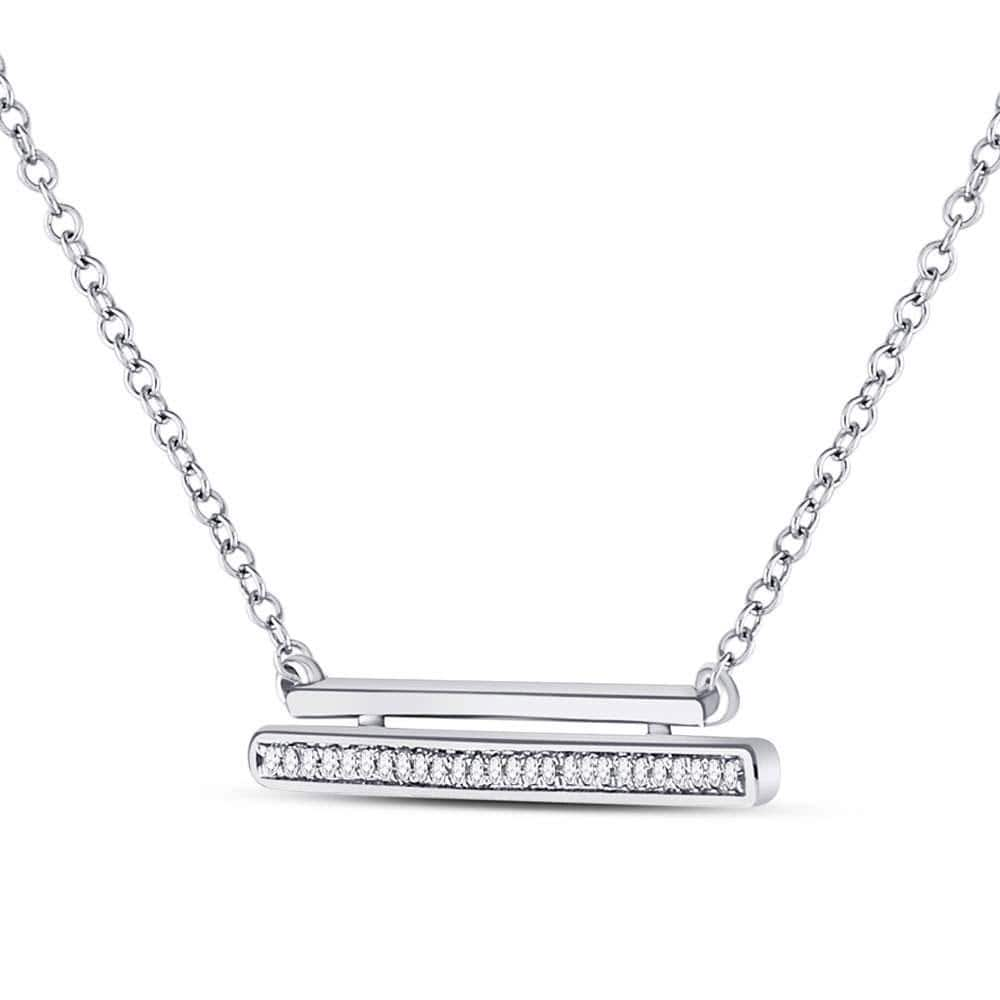 10kt White Gold Womens Round Diamond Double Horizontal Bar Necklace 1/10 Cttw