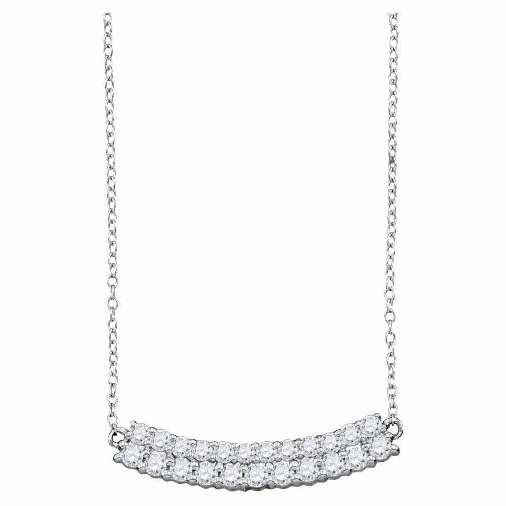 14kt White Gold Womens Round Diamond Curved Double Row Bar Necklace 1 Cttw