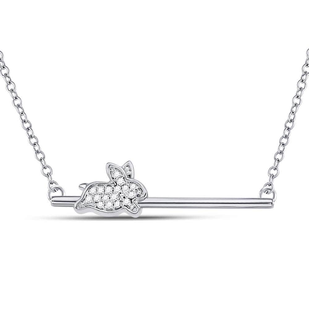 10kt White Gold Womens Diamond Rabbit Bunny Bar Pendant Necklace 1/12 Cttw