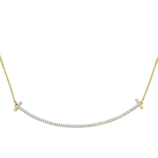 10kt Yellow Gold Womens Round Diamond Curved Bar Necklace 1/3 Cttw